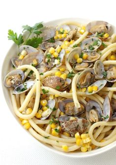 This Spaghetti with Fresh Corn and Clams is on the table in less than 30!