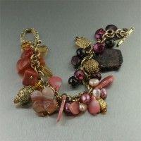 Garnet Amber Carnelian 14K Gold Chain Maille Bracelet