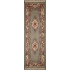 Handmade Rectangular European Runner Area Rug in Green with Ivory Accents, 2x10 area rugs