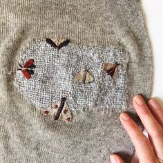 Visible mending of moth holes with embroidered moths. Embroidery Art, Embroidery Stitches, Sewing Hacks, Sewing Projects, Visible Mending, Make Do And Mend, Textiles, Boro, Darning