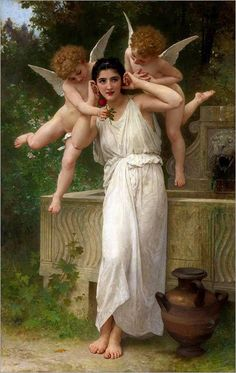 off Hand made oil painting reproduction of Jeunesse (Youth), one of the most famous paintings by William-Adolphe Bouguereau. The French academic painter William-Adolphe Bouguereau concluded the maste. William Adolphe Bouguereau, Renaissance Kunst, Munier, Poster Prints, Art Prints, Oil Painting Reproductions, Classical Art, Angel Art, Oeuvre D'art