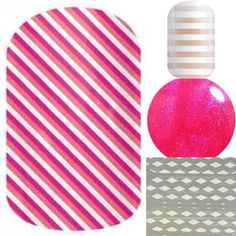 Skinny pink, delight and white stripe layered over hot pink laquer. Great for breast cancer awareness!