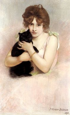 Pierre Carrier Balleuse, Young Ballerina Holding Black Cat. Neither one of which looks particularly comfortable. Scan of 2 d image in the public domain believed to be free to use without restriction in the US