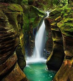 Corkscrew Falls – Hocking Hills State Park – Ohio, USA Photo by Steve Perry --- 33 Amazing And Beautiful Places Around The World Places Around The World, Oh The Places You'll Go, Places To Travel, Places To Visit, Around The Worlds, Travel Destinations, Dream Vacations, Vacation Spots, Vacation Travel
