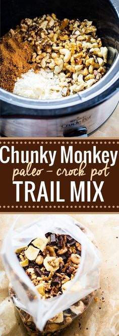 Crock Pot Chunky Monkey Paleo Trail Mix is part of snack mix recipes Clean Eating - Crock Pot Chunky Monkey Paleo Trail Mix! A healthy grain free paleo trail mix that will give you energy, whether actually on a trail or snacking on the go! Paleo Trail Mix, Trail Mix Recipes, Healthy Trail Mixes, Snack Mix Recipes, Snack Mixes, Candy Recipes, Recipes Dinner, Low Carb Dessert, Paleo Dessert