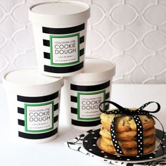 """I love delivering little """"happys"""" to my friends + family during the holiday season, and one of my favorite treats is a container of homemade cookie dough. I make a huge batch of it, separate it out into containers, and pop a cute gift sticker on it. It's a little luxury to stock their fridge; easy to pull out on a snowy day! #whhostess #christmas #hostessgift #giftideas #giftstickers #personalizedstationery #cookiedough"""