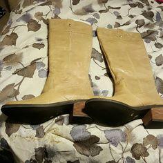 Cute leather tan boots final price drop Brand new never worn! Gianni Bini Shoes