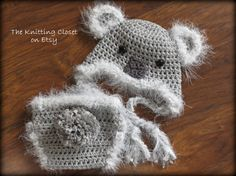 Crochet Diaper Cover Pattern ♥ Koala Bear Diaper Cover and Hat Pattern  ♥ Cute, soft and adorable Koala diaper cover and hat.  ♥ Perfect for dressing up, or a newborn photo shoot.  ♥ This easy to follow pattern works up very quickly using worsted weight yarn held double for a cute bulky look.  ♥ Pattern includes sizes for a Newborn and 0-3 months.    ♥♥♥  Pattern by Deborah O'Leary Patterns