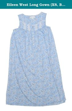Eileen West Long Gown (XS, Blue). Sleeveless. Long length. Cotton/modal. Machine washable. Genuine product by Eileen West.