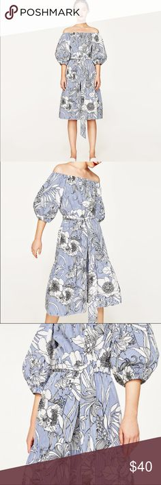 """Zara floral dress New with tags Zara floral dress. Removable belt. 100% cotton. Chest measures approximately 36"""", length is approximately 38"""". No trades! Offers welcome!                                                    NRE77 Zara Dresses"""