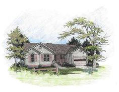 The inviting front porch is the focal point of this attractive home.  A surprising 14'x20' vaulted family room provides plenty of living area.  The open breakfast room may be enlarged with an optional bay window.  The galley kitchen is brightened by two windows. The washer and dryer may be placed in the large 1-1/2 car garage or enclosed in the optional laundry room.  The master suite features a full bath and a large walk-in closet.  A spacious bath off the hallway serves the two ...