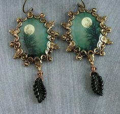 Teal Tree Earrings Full Moon Earrings Brass Leaf Earrings Gothic Earrings Black Leaves Halloween Autumn Woodland Winter Turquoise