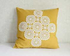 Vintage doily and upcycled table cloth become a unique pillow from Helsinki Finland on Etsy