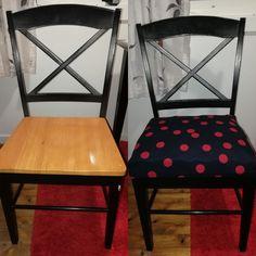 Før og etterbilde etter opptrekking av stolene. Gjenbruk av gammel madrass til innlegg i sitteputene og møbelstoff fra stoff og stil.