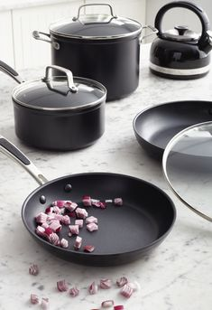 KitchenAid pots and pans are perfect for all your dishes. Easy to clean and made from the best materials. Bonus: they look gorgeous on that stove top! Find out more on our website.