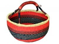 """Round Basket (With Leather Handle) (G-159A)   16"""" - 18"""" diameter"""