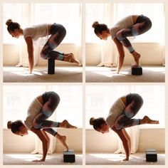 Tuesday yoga tidbits crow pose Prep yourself to take flight Start by propping yourself on blocks like the first photo Spread your fingers and press your palms down Take c. Yoga Fitness, Fitness Workouts, Fitness Diet, Cardio Workouts, Pilates Workout, Yoga Bewegungen, Sup Yoga, Yoga Art, Yoga Beginners
