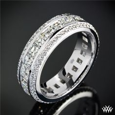 Cast+in+18k+White+Gold,+this+stunning+Custom+Diamond+Wedding+Ring+holds+two+rows+of++++A+CUT+ABOVE®+Hearts+and+Arrows+Diamond+Melee++++that+flank+a+center+row+full+of+Asscher+Cut+Diamond+Melee.+The+width+of+this+ring+is+6mm.+If+you+would+like+to+receive+a+custom+quote+for+this+design+please+call+one+of+our+friendly+diamond+consultants+at+1-877-612-6770.