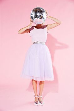 Pink flirty skirt, sparkle belt and a disco ball makes for a lovely Galentines outfit.