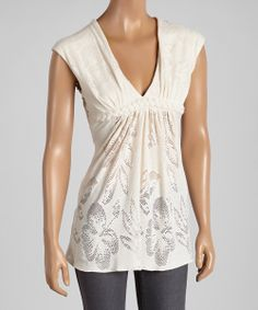Cream Crocheted Braided Nicolay V-Neck Top | something special every day