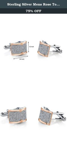 Sterling Silver Mens Rose Tone Cufflinks with Micropave Cubic Zirconia. Transform yourself into a fashion icon with this voguish design that will accentuate your stylish personality. A shimmering sea of 238 micro pave set Brilliant Sparkling Cubic Zirconia. These sleek cufflinks features superb craftsmanship and finishing, each CZ is set with the aid of a microscope. Crafted from Sterling SIlver and finished with Rose Tone and Rhodium. The Folding Back closures ensure ease of use and...