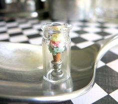 Ice Cream Cone in a Glass Bottle Polymer Clay Ice от ChikoCraft, $25.00