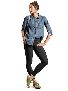 f09554fb639 Athleta look  Bootjack Chambray Shirt  Highline Hybrid Ankle Tights  WRT96  by New Balance