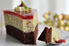 Romanian Desserts, Mac, Food Cakes, Mini Cakes, Cake Recipes, Sweet Treats, Sandwiches, Cheesecake, Deserts