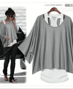 Women's Batwing Sleeve loose Suit ( T-Shirt And Vest )