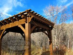 Free standing pergola with Early American stain and Roosevelt Step profile.