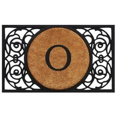 Armada Circle Monogram Doormat (Letter O), Black