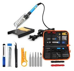 ANBES Soldering Iron Kit  60W 110V Adjustable Temperature Welding Soldering Iron 5pcs Soldering Tips Desoldering Pump Tin Wire Tube Stand Tweezers Wire Stripper Cutter 2pcs Electronic Wire * Read more reviews of the product by visiting the link on the image. (This is an affiliate link)