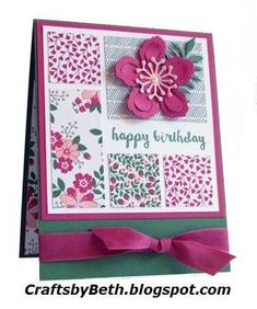 """Stampin' Up! Products Garden Green cardstock Card base measures 4 1/2"""" x 5 1/2"""" Blushing Bride cardstock Scrap for flower cente..."""