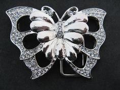 Rhinestone Butterfly Butterflies 3D Art Country Western Girls Belt Buckle Buckles