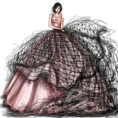 How to Draw a Fashionable Dress - Drawing On Demand Illustration Mode, Fashion Illustration Sketches, Fashion Sketchbook, Fashion Sketches, Paper Fashion, Fashion Art, Love Fashion, Girl Fashion, Fashion Dresses