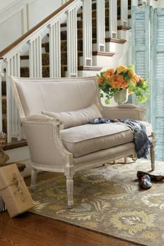 Isla Settee - Oak Settee, Upholstered Settee, Linen Settee, with down filled cushion. (Soft Surroundings)