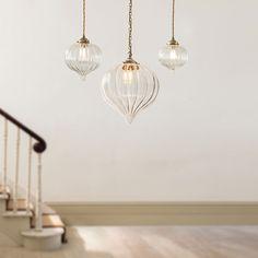 Mia Glass Pendant Light in Antiqued Brass Brass Pendant Light, Industrial Pendant Lights, Pendant Lighting, Ceiling Rose, Ceiling Lights, Luminaire Original, Lampe Art Deco, Window Furniture, Light In