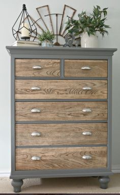 dresser makeover - natural wooden drawers with upcycled grey painted outer frame. - dresser makeover – natural wooden drawers with upcycled grey painted outer frame- www. Refurbished Furniture, Repurposed Furniture, Farmhouse Furniture, Country Furniture, Country Decor, Vintage Furniture, Furniture Dolly, Diy Furniture Upcycle, Rehabbed Furniture