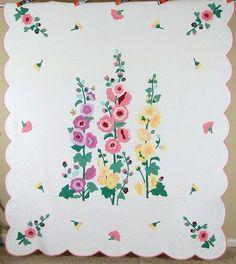 OUTSTANDING Vintage 30's Hollyhock & Butterfly Applique Antique Quilt ~RARE! Applique Patterns, Applique Designs, Quilt Patterns, Applique Ideas, Antique Quilts, Vintage Quilts, American Quilt, Flower Quilts, Felt Embroidery