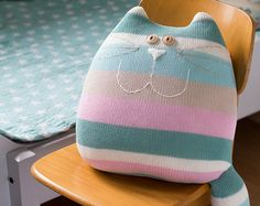 Pastel cat cushion pastel cat pastel cat pillow big cat by byGu Upcycled Crafts, Diy Crafts, Cat Cushion, Knitted Cat, Big Knits, Cat Pillow, Fabric Toys, Decorative Cushions, Animal Pillows