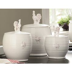 white rooster canister set
