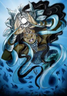 Peixes by OradiaNCPorciuncula on DeviantArt Black Mermaid, Mermaid Art, Yemaya Orisha, Orishas Yoruba, African Mythology, Sacred Feminine, Afro Art, People Art, Gods And Goddesses