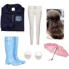 Preppy rainy day outfit!! ☔☔☔