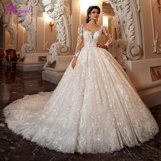 """""""The Marissa"""" Chapel Train Lace Scoop Neck Long Sleeve Beaded Ball Gown Pink Wedding Dresses, Wedding Dress Sizes, Perfect Wedding Dress, Cheap Wedding Dress, Gown Wedding, Lace Wedding, Dream Wedding, Princess Bride Dress, Princess Ball Gowns"""