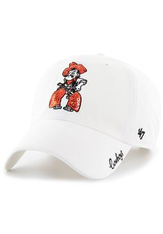 85d1975bd '47 Oklahoma State Cowboys White Sparkle Clean Up Womens Adjustable Hat,  White, COTTON