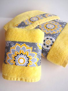 Pick Size Yellow bath towel hand towels yellow towels by AugustAve, $15.00