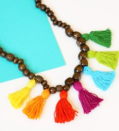 DIY Wooden Bead and Tassel Statement Necklace