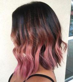 dark brown bob with pastel pink balayage