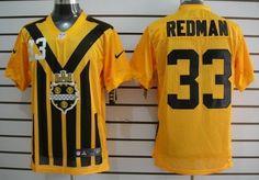 Nike Pittsburgh Steelers #33 Isaac Redman 1933 Yellow Throwback Jersey
