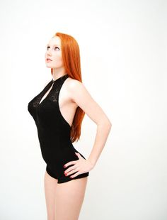 The red hair! The swimsuit!!! Vintage 1950s Halter Swimsuit 50s Bathing Suit by concettascloset